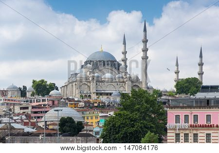 ISTANBUL TURKEY - JUNE 25 2015: View on the Suleymaniye Mosque in Eminonu Istanbul Turkey
