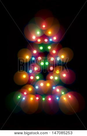 Decorative multicolour Christmas tree. Decorative multicolour Christmas tree. Blue, orange, green, white and red bubbles