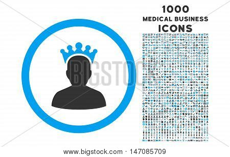 King rounded vector bicolor icon with 1000 medical business icons. Set style is flat pictograms, blue and gray colors, white background.