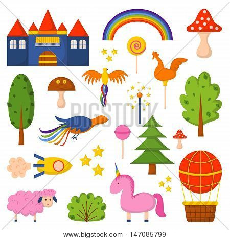 Vector illustration with cute colorful cartoon fantasy world: rockets castle trees unicorn balloon amanita. Children book cartoon cover or illustration. Vector icons. Fantasy dream world template