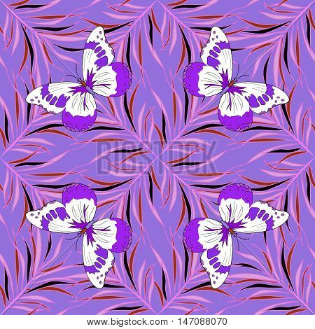 Violet lilac seamless pattern with butterflies. Vector.