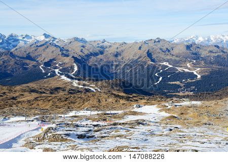 The ski with a view on Dolomiti mountains Madonna di Campiglio Italy