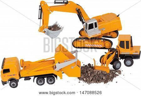 Construction loader/bulldozer, excavator and rock truck toys