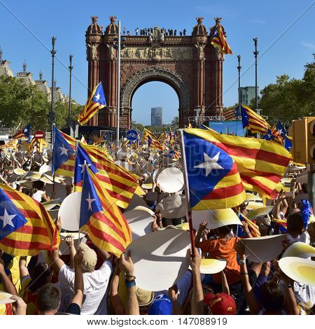 BARCELONA, SPAIN - SEPTEMBER 11: People partaking in a rally in support for the independence of Catalonia on September 11, 2016 in Barcelona, Spain, during its National Day