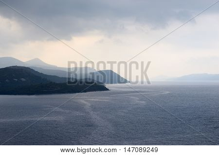 Adriatic sea with rain clouds in Croatia.