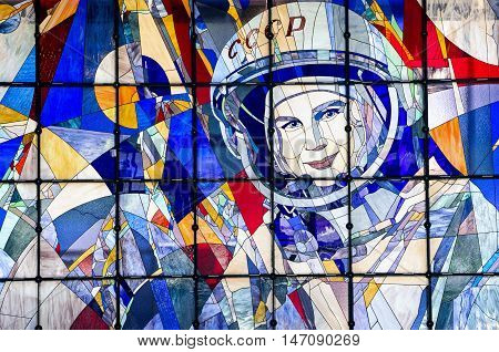 YAROSLAVL, RUSSIA - JUNE 29, 2016: A stained-glass window with a portrait of Valentina Tereshkova in The New Cultural and Educational Center with Planetarium in Yaroslavl. Valentina Tereshkova is the first woman to have flown in space.