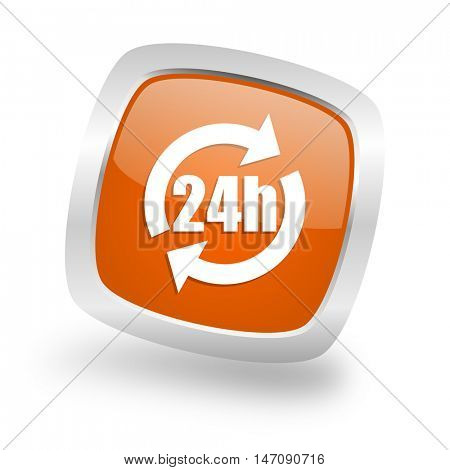 24h square glossy orange chrome silver metallic web icon