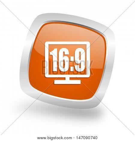 16 9 display square glossy orange chrome silver metallic web icon