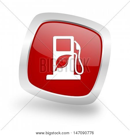 biofuel square glossy red chrome silver metallic web icon
