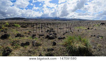 Panoramic view lava fields near Hekla volcano, Southern Iceland
