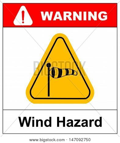 Vector illustration of triangle traffic sign for strong wind. Warning sticker for outdoors with wind socks in yellow triangle isolated on white.