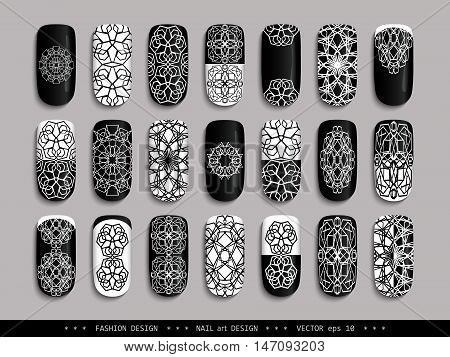 Nail art design black & white. A set of overhead nail, labels, stickers, elements for design. Ideas for manicure, pedicure, beauty salons, modeling agencies. Fashion trends. Vector illustration EPS 10