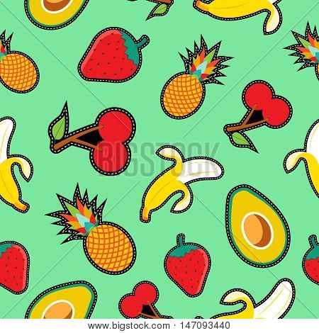 Fruit Seamless Background With Cartoon Designs