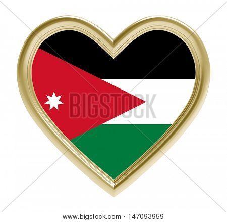 Jordanian flag in golden heart isolated on white background. 3D illustration.