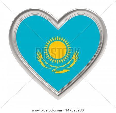 Kazakh flag in silver heart isolated on white background. 3D illustration.