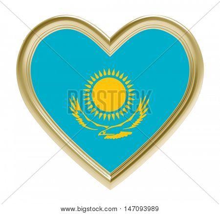 Kazakh flag in golden heart isolated on white background. 3D illustration.