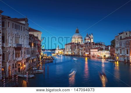 Canal Grande sunset of Accademia's bridge. Venice, Italy. Venetian background.
