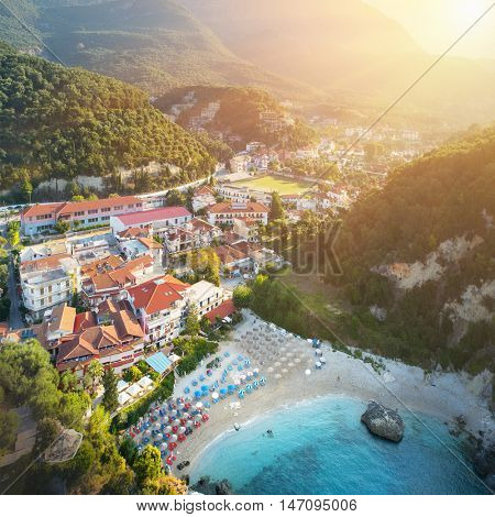 Amazing view to Parga port - beach in Greece at sunrise