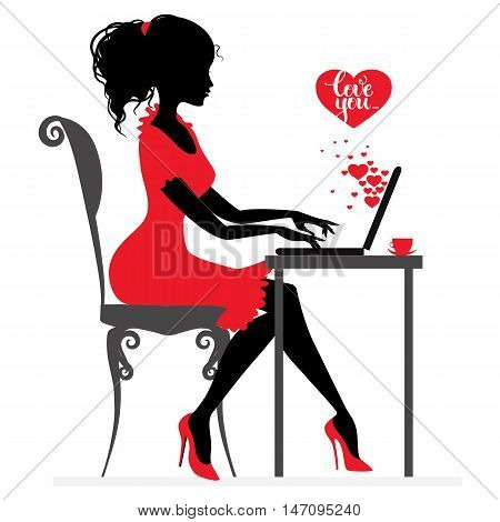 Beautiful girl writes or receive love letter by Internet, vector silhouette