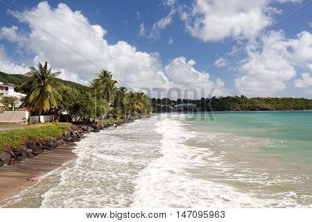 Le Diamant Beach. Beautiful Beach Scene in Martinique French Overseas Department