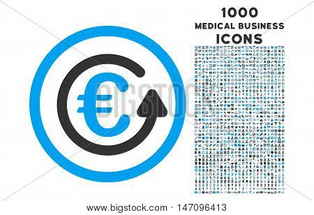 Euro Chargeback rounded glyph bicolor icon with 1000 medical business icons. Set style is flat pictograms, blue and gray colors, white background.