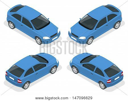 Isometric car. Hatchback car. Flat 3d vector high quality city transport icon set