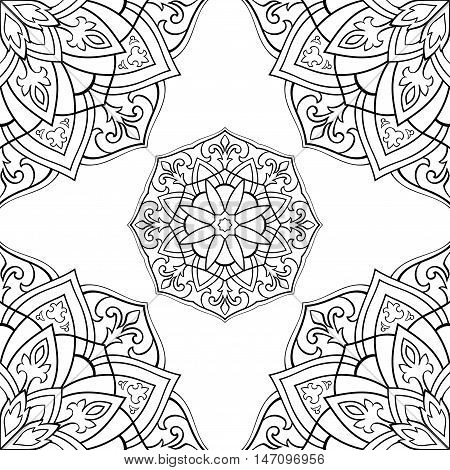 Seamless vector background. The pattern with contour filigree mandalas. Oriental black and white ornament. Template for textiles.