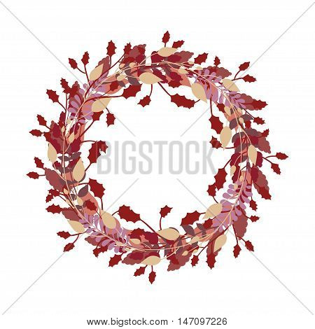 Colorful Vintage Autumn Wreath Vector with Vintage Wreath Branch, Leaves in Fall Palette for Vintage Decoration, Print, Greeting Card, Gift Card and Frame, Autumn Wreath