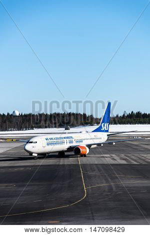 Oslo, Norway - circa March 2016:  SAS Airlines Airbus aircraft on runaway at Oslo Gardermoen Airport. Scandinavian Airlines, SAS, is the flag carrier of Sweden, Norway and Denmark, and the largest airline in Scandinavia.