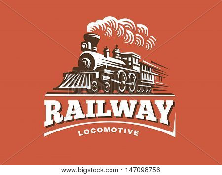 Locomotive logo illustration, vintage style emblem design