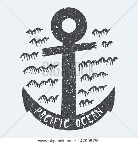 Anchor Pacific ocean black and white vector illustration