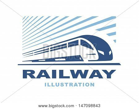 Train logo illustration on light background, emblem design