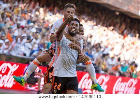 VALENCIA, SPAIN - SEPTEMBER 11th: Garay (24) celebratin a goal during Spanish League match between Valencia CF and Real Betis at Mestalla Stadium on September 11, 2016 in Valencia, Spain