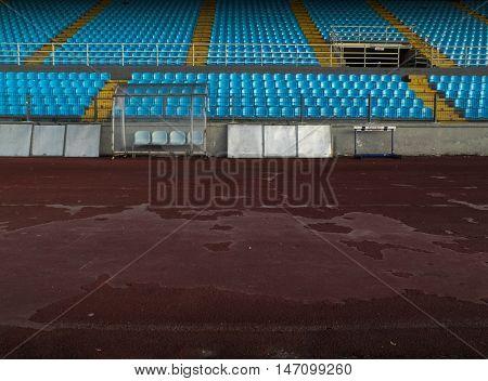 The tartan track at this stadium seems damaged in Ioannina, Greece.