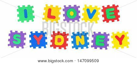Message I Love Sydney from letters puzzle isolated on white background.