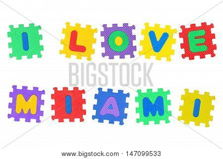 Message I Love Miami from letters puzzle isolated on white background.