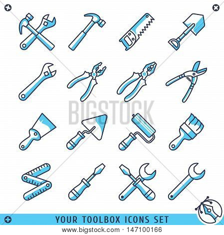 Your toolbox icons set lines vector illustration