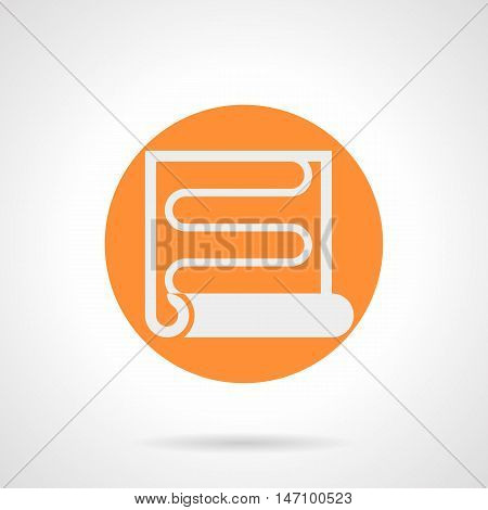 Abstract white silhouette sign of heat coil. Radiant underfloor heating, IR film. Flooring and house improvement service. Orange round flat style vector icon.