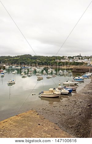 Port of Douarnenez, the pier in bad weather (Brittany, Finistere, France)