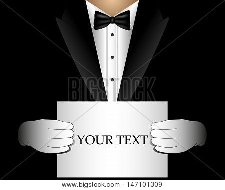 Vector waiter in a tuxedo with a blank template for invitation offer billboard.