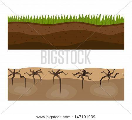 Illustration of cross section ground slice isolated on white background.