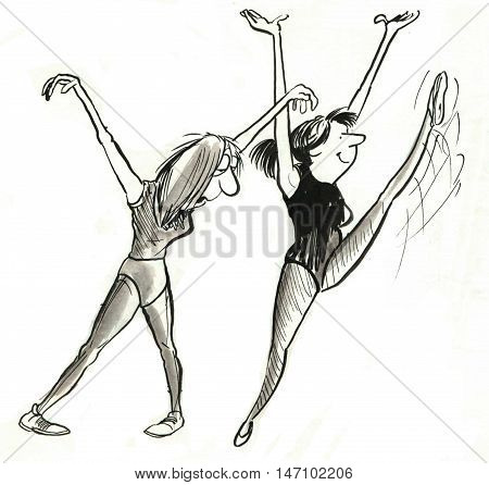 B&W illustration showing two women exercising, one is happy and energetic, the other is tired and sleepy.