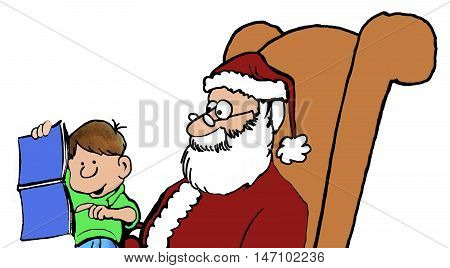 Closeup, color Christmas illustration of little boy sitting on Santa's lap and pointing to magazine centerfold.