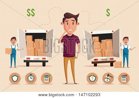 Man thinking of choice. Money for spending. Vectro cartoon illustration. Character design. Cute person. Good idea. Transport company. Relocation. Move. Boxes with things