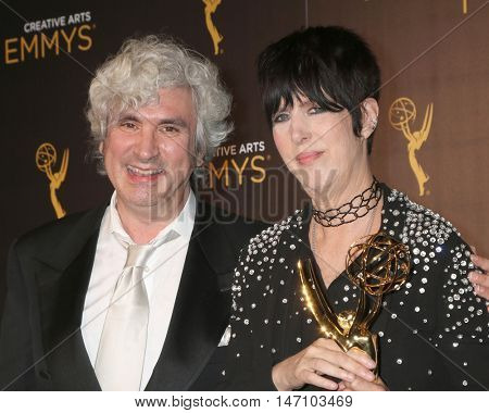 LOS ANGELES - SEP 11:  Jeff Sanderson, Diane Warren at the 2016 Primetime Creative Emmy Awards - Day 2 - Press Room at the Microsoft Theater on September 11, 2016 in Los Angeles, CA