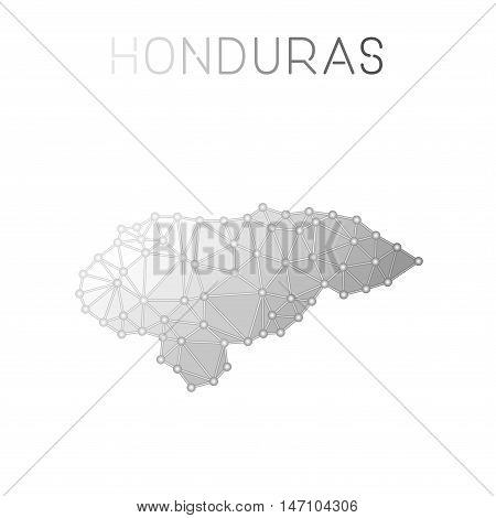 Honduras Polygonal Vector Map. Molecular Structure Country Map Design. Network Connections Polygonal