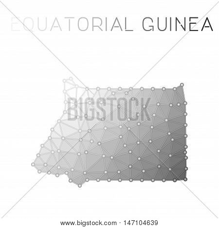 Equatorial Guinea Polygonal Vector Map. Molecular Structure Country Map Design. Network Connections