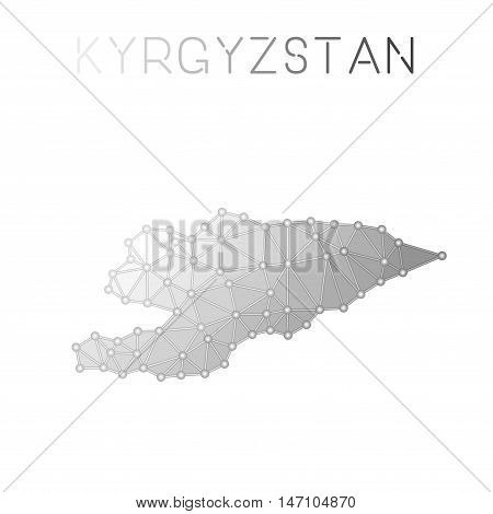 Kyrgyzstan Polygonal Vector Map. Molecular Structure Country Map Design. Network Connections Polygon