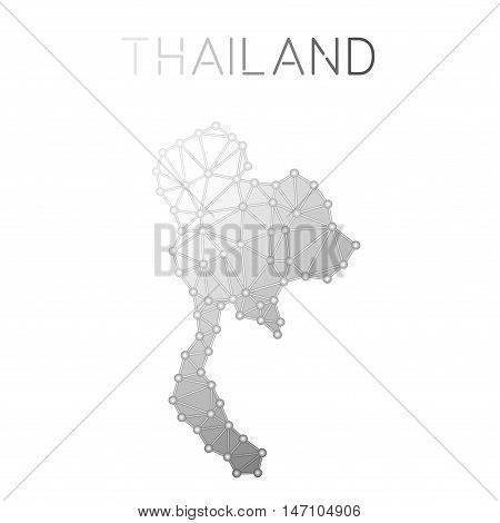 Thailand Polygonal Vector Map. Molecular Structure Country Map Design. Network Connections Polygonal