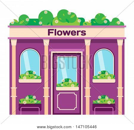 Vector flat design shop facade isolated. Some shop facade isolated on white background. Alcohol shop store facade